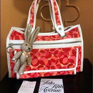Auth Celine RARE Canvas Cabas Multi Color Tote Bag